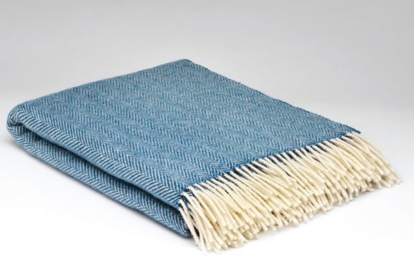 Tweed in the valley pure wool throw blue Pure Wool Throw Blue