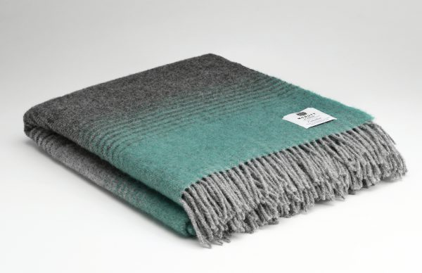 Tweed in the valley pure wool throw charcoal and mint stripe Pure Wool Throw Charcoal and Mint Stripe