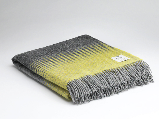 Tweed in the valley pure wool throw charcoal and yellow stripe Pure Wool Throw Charcoal And Yellow Stripe