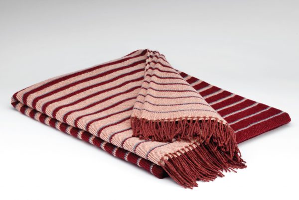 Tweed in the valley pure wool throw dark claret stripe Pure Wool Throw Dark Claret Stripe