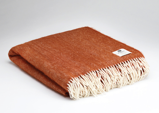 Tweed in the valley pure wool throw rust Pure Wool Throw Rust