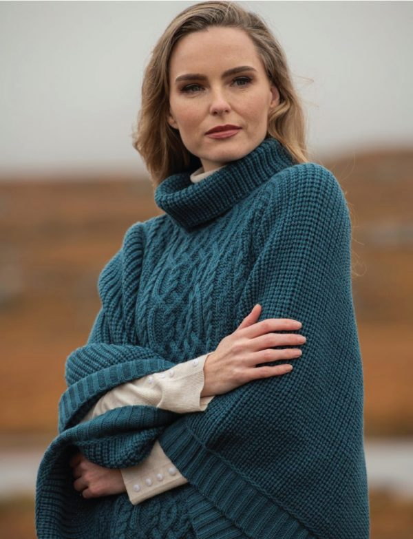 Untitled Tweed in the valley aran craft ribbed poncho teal Aran Craft Ribbed Poncho Teal