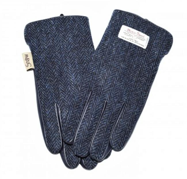Tweed in the valley 1 Ladies Navy Herringbone Harris Tweed Gloves size Medium Large  Snow Paw €39 Ladies Navy Herringbone Harris Tweed Gloves