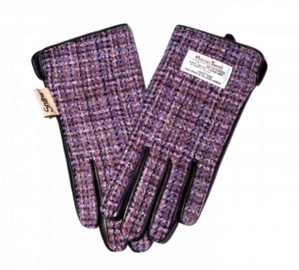 Tweed in the valley 1 Ladies purple check Harris Tweed Gloves size Medium Large Snow Paw €39 Ladies Purple Check Harris Tweed Gloves