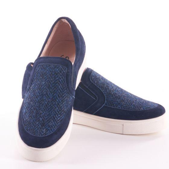 Tweed in the valley 1 Mens shoe Navy herringbone size 1011 €95 Men's Shoe Navy Herringbone