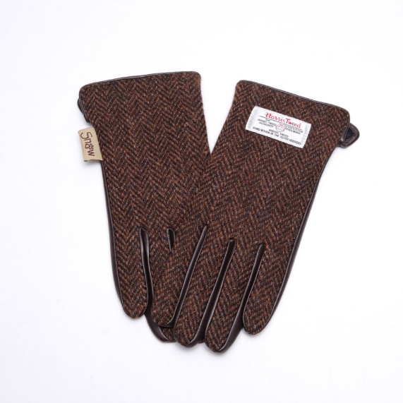 Tweed in the valley 1 snowpaw brown herringbone Size Medium Large gloves €39 Brown Herringbone Gloves