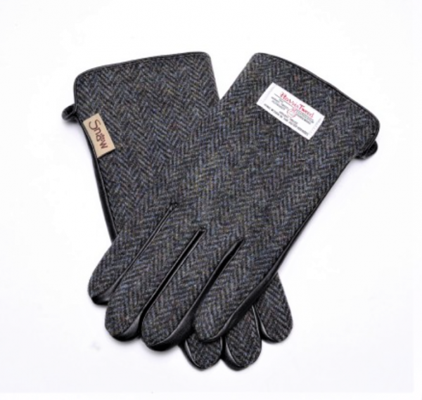 Tweed in the valley mens Grey herringbone tweed gloves back view size Medium Large €45 Mens Grey Herringbone Tweed Gloves