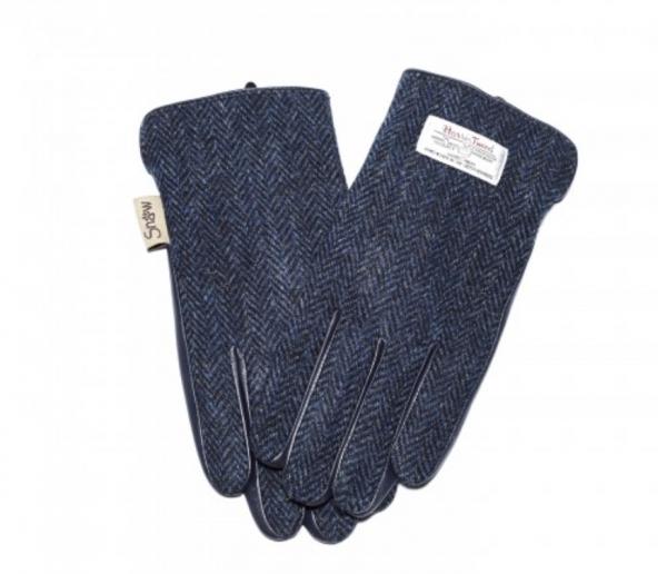 Tweed in the valley mens Navy herringbone tweed gloves back view size Medium Large €45 Mens Navy Herringbone Tweed Gloves