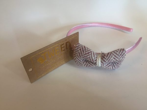 Pink herringbone hairband