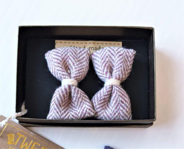 pink herringbone bows