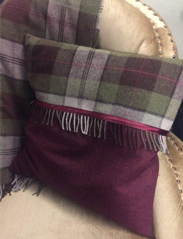 Tweed fringe cushion